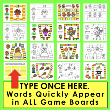 Thanksgiving Activities: Sight Words Game Boards - Set 1