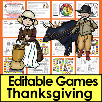 Thanksgiving Sight Word Game Boards - EDITABLE! Auto Fill Set 2