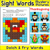 Thanksgiving Activities Color by Sight Words: Turkey, Pilg