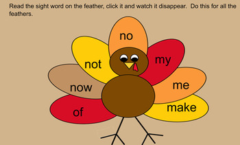 Thanksgiving Sight Words Smartboard