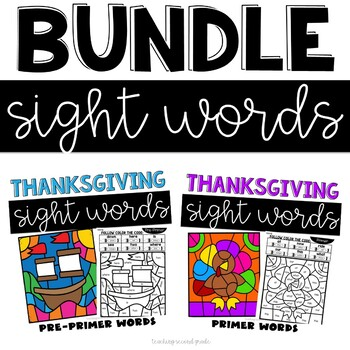 Thanksgiving Sight Words with PrePrimer and Primer Words