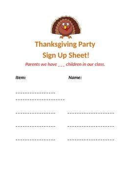 Thanksgiving Sign Up Sheet!