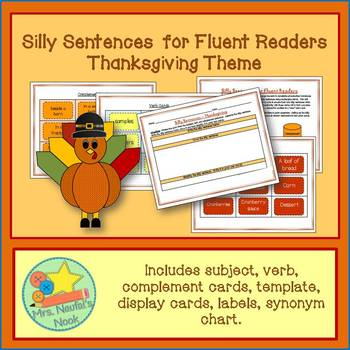 Thanksgiving Word Work - Silly Sentences for Fluent Readers