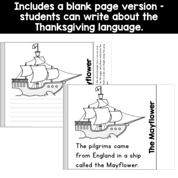 Thanksgiving Simple Flip Book Reading or Writing Activity for Kindergarten