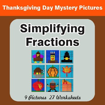 Thanksgiving: Simplifying Fractions - Color-By-Number Math Mystery Pictures