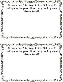 Thanksgiving Single Digit Addition and Subtraction Problems