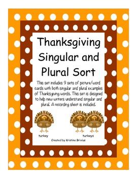 Thanksgiving Singular and Plural  Noun Sort