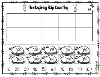 Thanksgiving Skip Counting (2's & 10's)