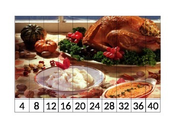 Thanksgiving Skip Counting Puzzles