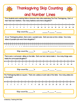 Thanksgiving Skip Counting and Number Lines