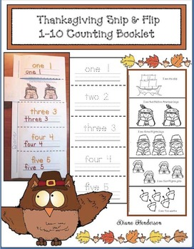 Thanksgiving Snip & Flip Emergent Reader Counting Booklet