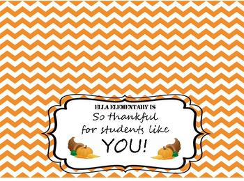 Thanksgiving: 'So Thankful for Students Like You!' Treat Bag Topper Freebie
