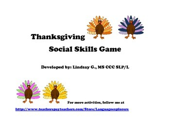 Thanksgiving Social Skills Game
