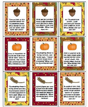 Thanksgiving Social Skills / Pragmatics / Etiquette Activity game Speech therapy