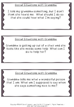 Thanksgiving Social Skills Situation Cards and Problem Solving