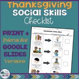 Thanksgiving Social Skills Checklist
