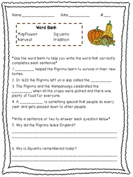 Thanksgiving Social Studies and Literacy Activities 2-3