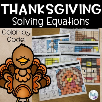 Thanksgiving Solving Equations Mystery Pictures