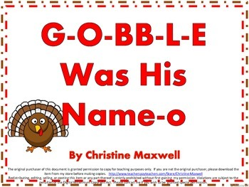 Thanksgiving Song And Posters G-O-BB-L-E Was His Name-O