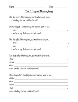 Thanksgiving Song:  The 5 Days of Thanksgiving
