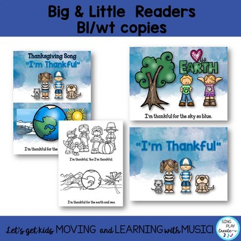 "Thanksgiving Literacy Song and Activities ""I'm Thankful"" Little Reader, Writing"