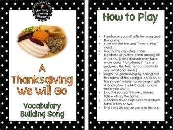 Thanksgiving Song and Picture Game