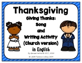 Thanksgiving Song and Writing Activity in English: church version