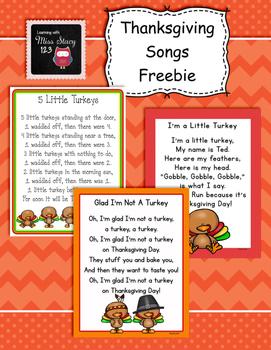 Thanksgiving Songs Freebie By Creative Kids Corner Preschool Tpt