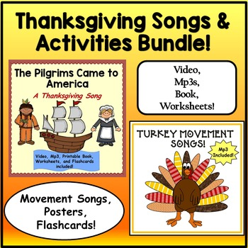 Thanksgiving Songs and Activities Bundle: Music Video, Mp3s, Printables