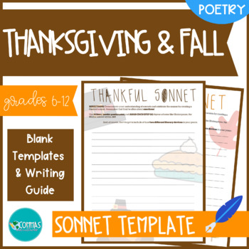 Thanksgiving & Fall-Themed Sonnet-Writing Templates (2-Pack)