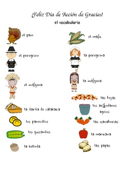 Thanksgiving Spanish Activities/ Dia de Accion de Gracias