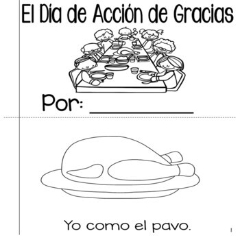 Thanksgiving Spanish Emergent Reader