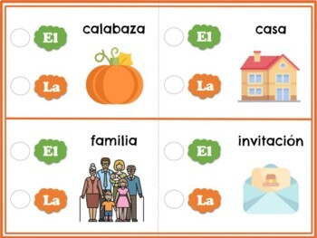 Thanksgiving - Spanish Masculine and Feminine Classification Game