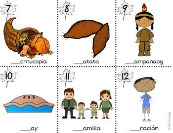 Thanksgiving Spanish Read / Write the Room
