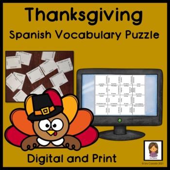 Thanksgiving Spanish Vocabulary Magic Squares Puzzle