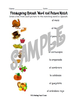 Thanksgiving Spanish Word and Picture Match