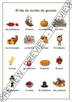 Thanksgiving (Spanish unit) / Dia de accion de gracias - Juegos y actividades