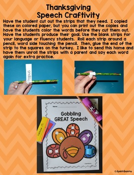 Thanksgiving Speech Therapy Crafts for articulation and language