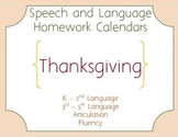 Thanksgiving Speech Homework Calendar