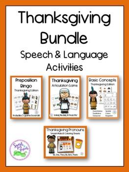Thanksgiving Speech & Language Activities Bundle