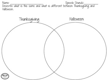 Thanksgiving Speech & Language Homework Freebie