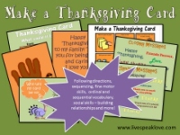 Thanksgiving Speech Language Therapy: Make a Thanksgiving Card