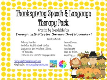 Speech and Language Therapy Pack: Thanksgiving