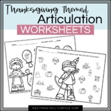 Thanksgiving: No Prep Articulation Worksheets for Speech Therapy
