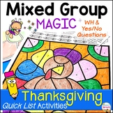 Thanksgiving Speech Therapy Activities with themed WH Questions