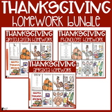 Thanksgiving Speech Therapy Homework BUNDLE