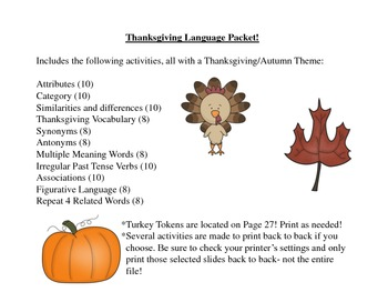 Thanksgiving Speech and Language