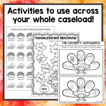 Thanksgiving Speech and Language Activities