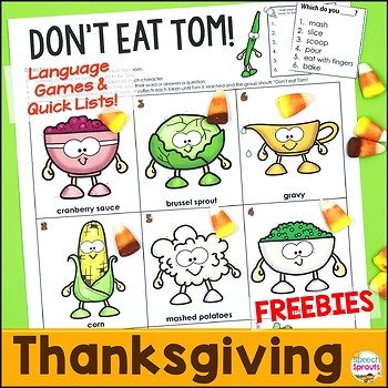 Thanksgiving Speech Therapy Games: Don't Eat Tom!