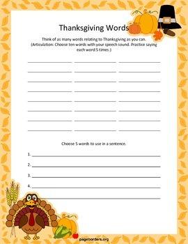 Thanksgiving Speech/Language Worksheets
